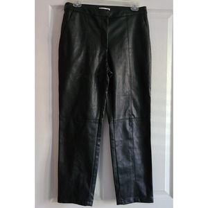 H&M Faux Leather Black Cropped Trouser Pants 8
